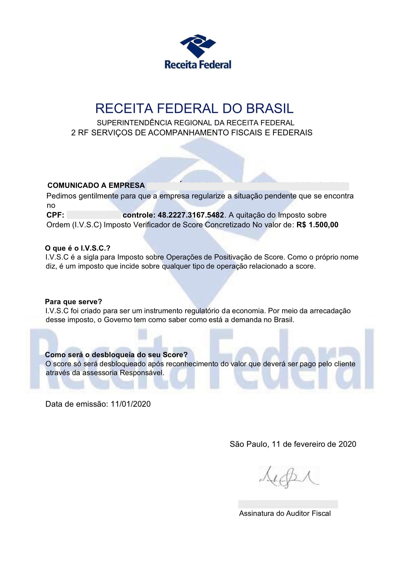 Comunicado falso da Receita Federal pede pagamento de Imposto sobre Operações de de Score