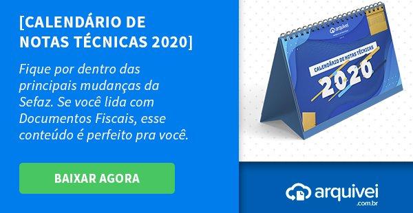 Calendário de Notas Técnicas 2020 gratuito com atualizações da SEFAZ
