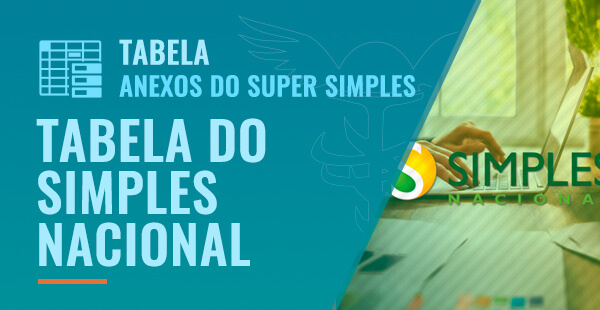Tabela do Simples Nacional - Anexos do Super Simples